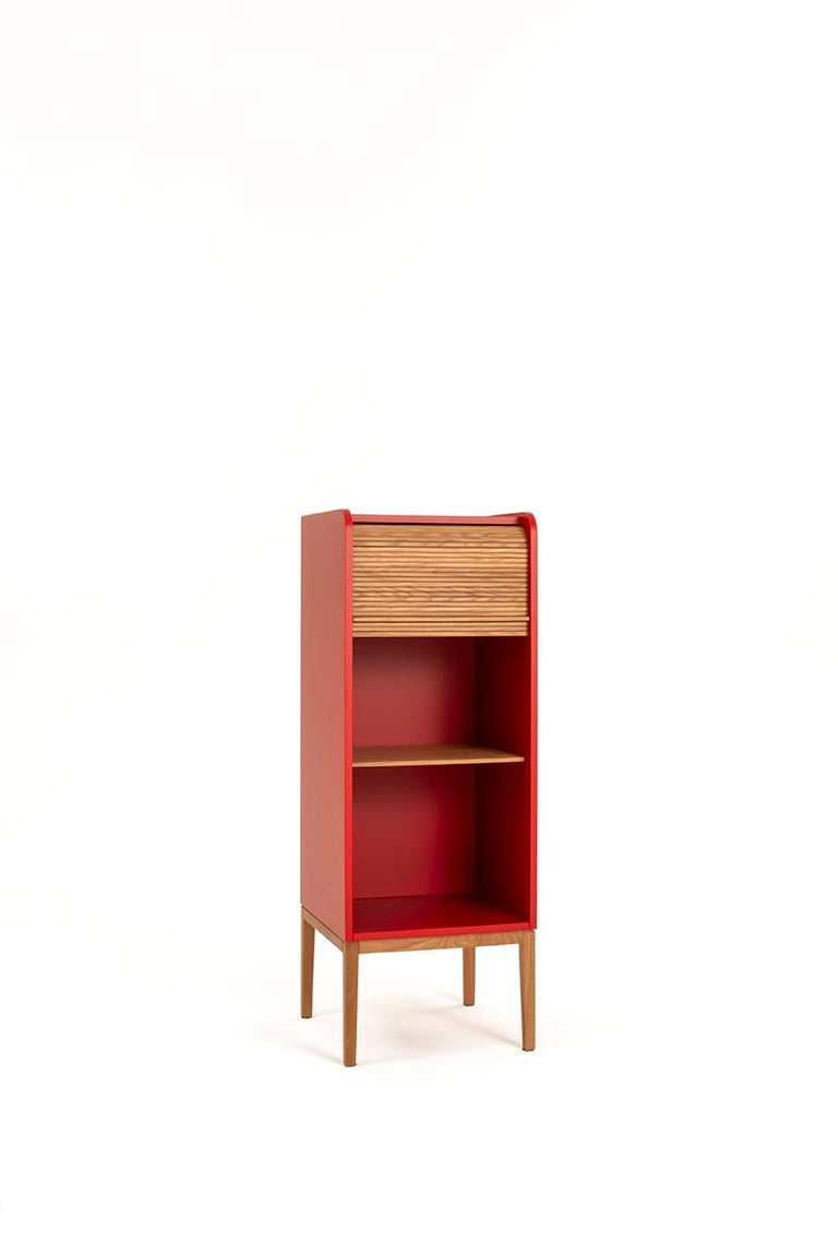 Italian Tapparelle L Cabinet Cherry Red; with Handmade Sliding Shutter in Solid Oak For Sale