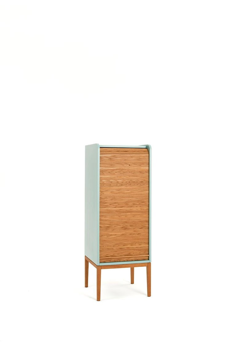 Tapparelle L Cabinet Cherry Red; with Handmade Sliding Shutter in Solid Oak In New Condition For Sale In Milan, Lombardy