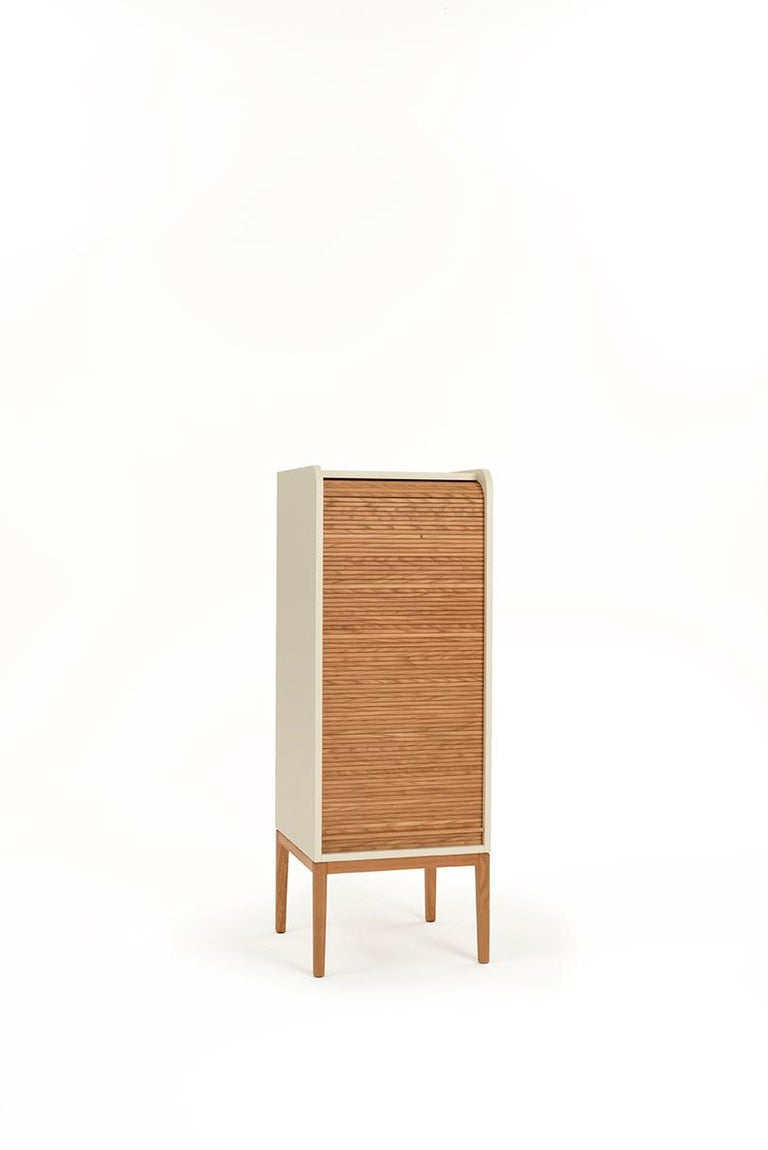 Contemporary Tapparelle L Cabinet Cherry Red; with Handmade Sliding Shutter in Solid Oak For Sale