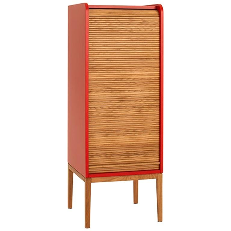 Tapparelle L Cabinet Cherry Red; with Handmade Sliding Shutter in Solid Oak For Sale