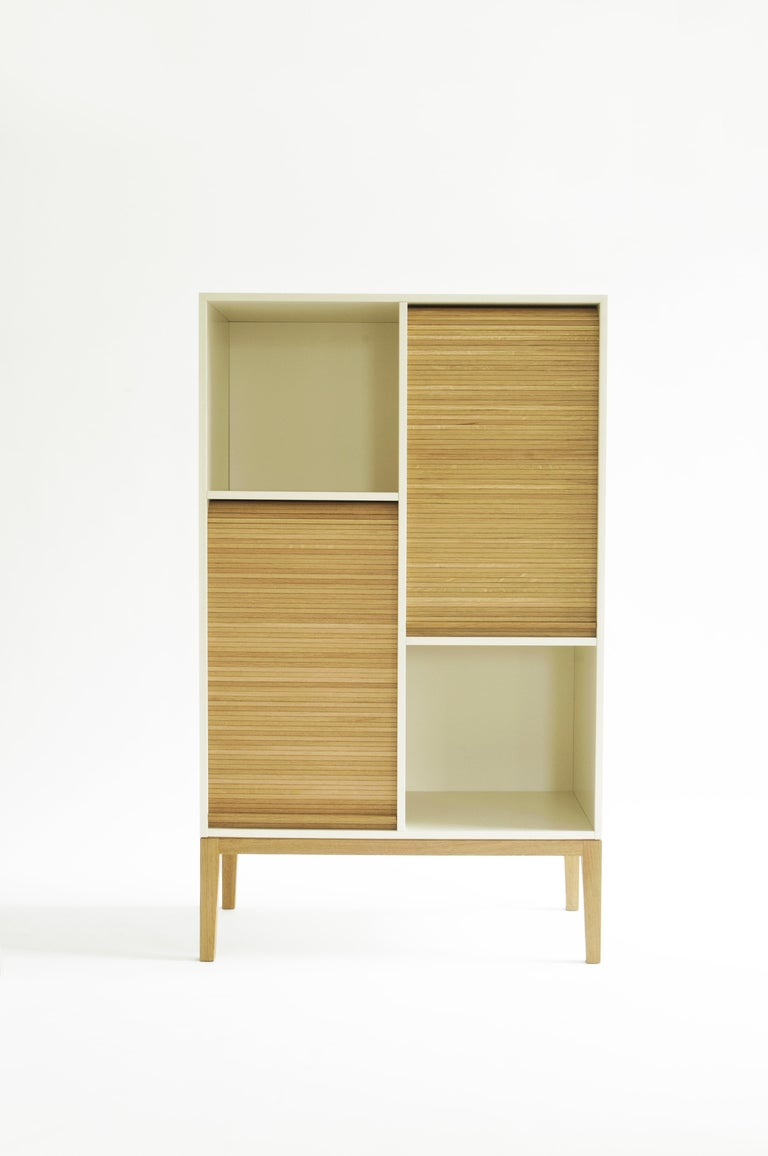 Tapparelle L Cabinet sage Green Lacquered with Handmade Sliding Shutter in Oak For Sale 4