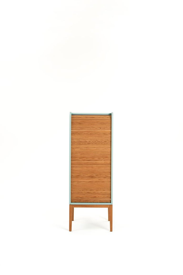 Tapparelle is a collection of cabinets that explore the traditional technique of antan office furniture with sliding shutters no longer in use, turning them into furniture for the contemporary home with soft and unusual lines.