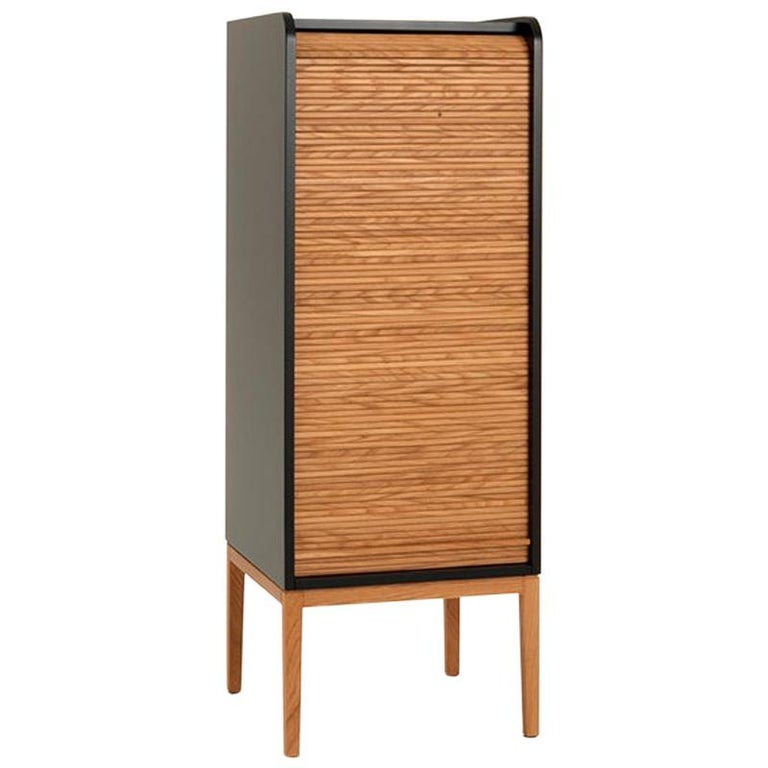 Hand-Crafted Tapparelle L Cabinet sage Green Lacquered with Handmade Sliding Shutter in Oak For Sale