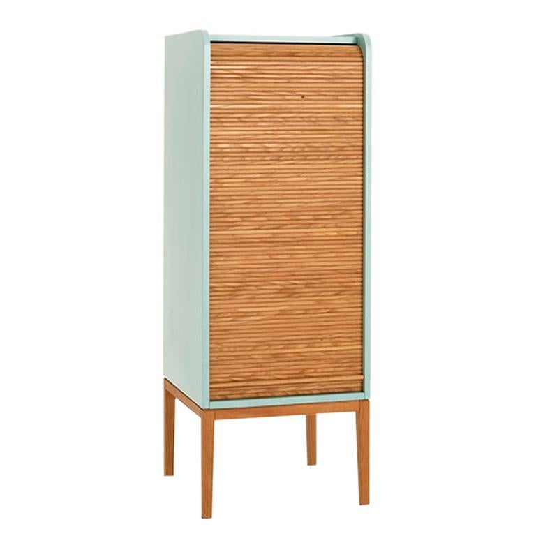 Tapparelle L Cabinet sage Green Lacquered with Handmade Sliding Shutter in Oak For Sale
