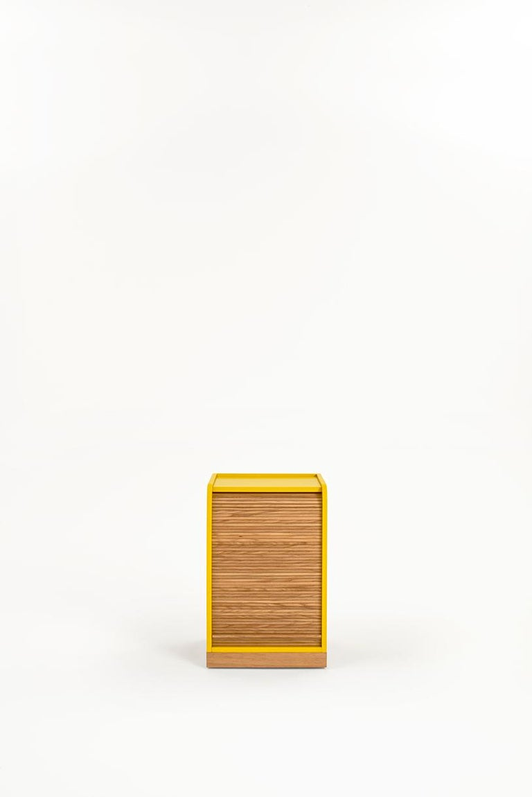 Tapparelle roll cabinet belongs to a collection of elements that explore the traditional technique of antan office furniture with sliding shutters no longer in use, turning them into furniture for the contemporary home with soft and unusual