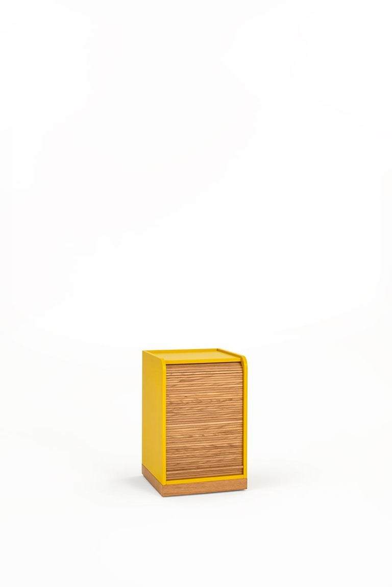 Minimalist Tapparelle Roll Cabinet on Wheels by Colé, Mustard Yellow, Minimal Design For Sale