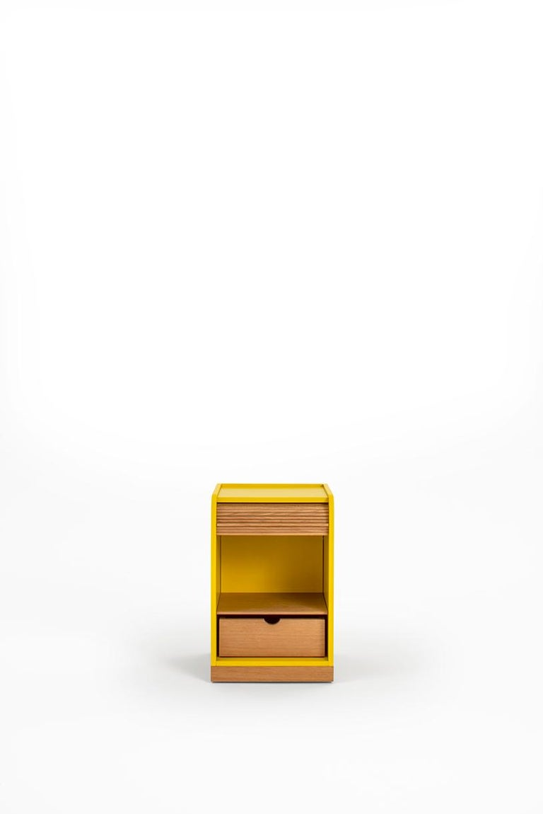 Italian Tapparelle Roll Cabinet on Wheels by Colé, Mustard Yellow, Minimal Design For Sale