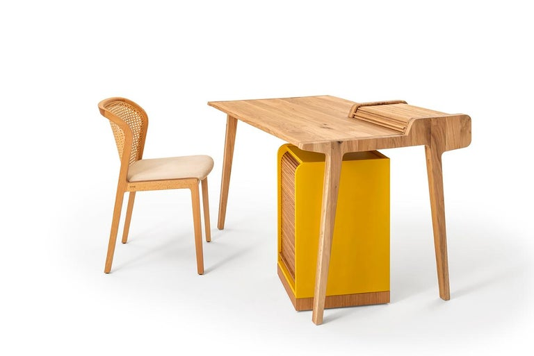 Hand-Crafted Tapparelle Roll Cabinet on Wheels by Colé, Mustard Yellow, Minimal Design For Sale