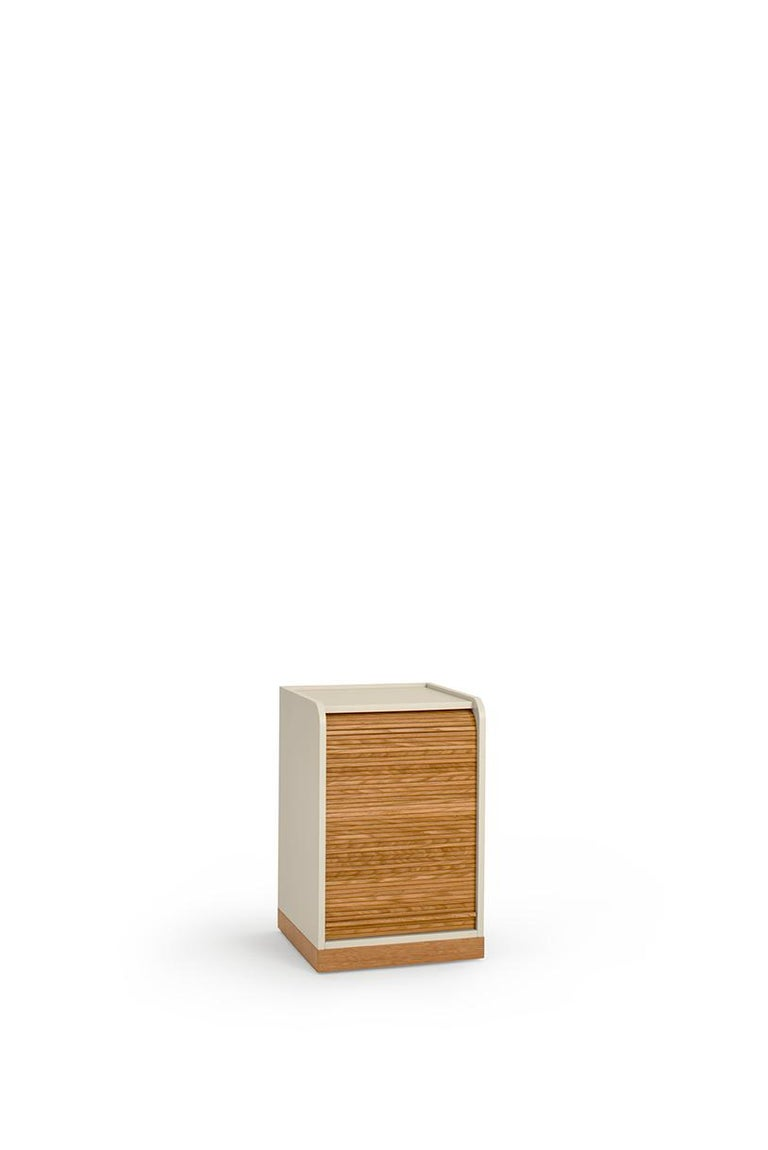 Contemporary Tapparelle Roll Cabinet on Wheels by Colé, Mustard Yellow, Minimal Design For Sale