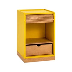 Tapparelle Roll Cabinet on Wheels by Colé, Mustard Yellow, Minimal Design