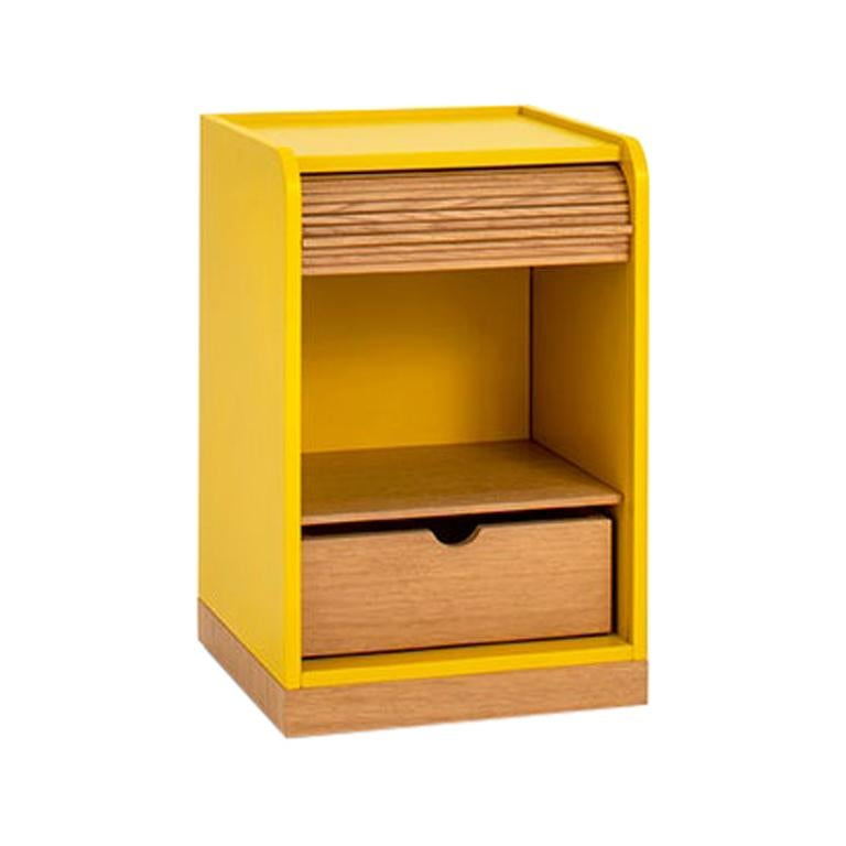 Tapparelle Roll Cabinet on Wheels by Colé, Mustard Yellow, Minimal Design For Sale