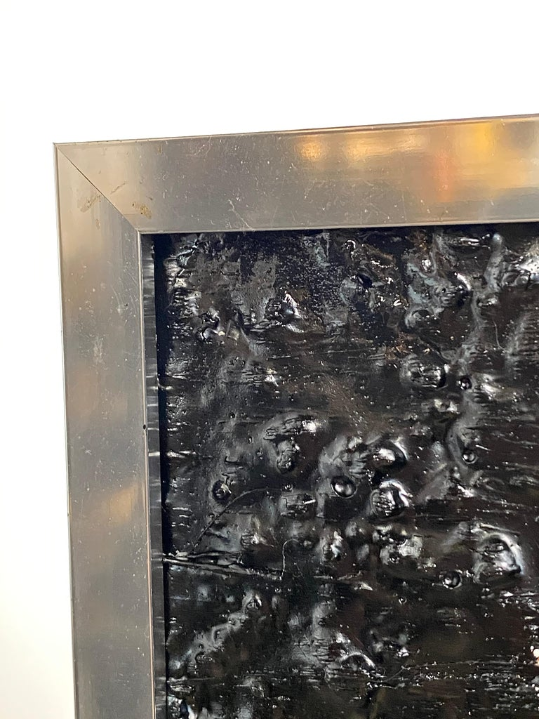American Black Tar Painting on Wood Framed in Metal, 21st Century by Mattia Biagi For Sale