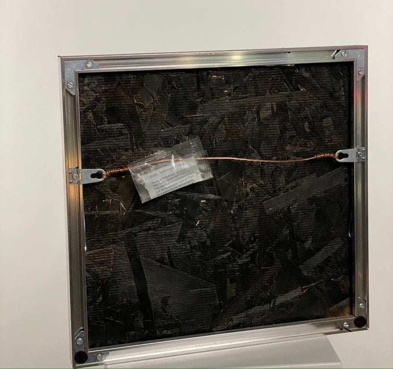Contemporary Black Tar Painting on Wood Framed in Metal, 21st Century by Mattia Biagi For Sale