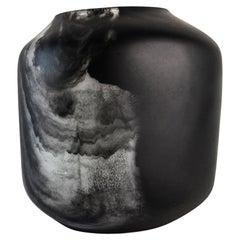 Tara Bajo Handmade Black and Transparent Resin Vase