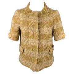 TARA JARMON Size 4 Beige & Cream Boucle Wool Blend Jacket