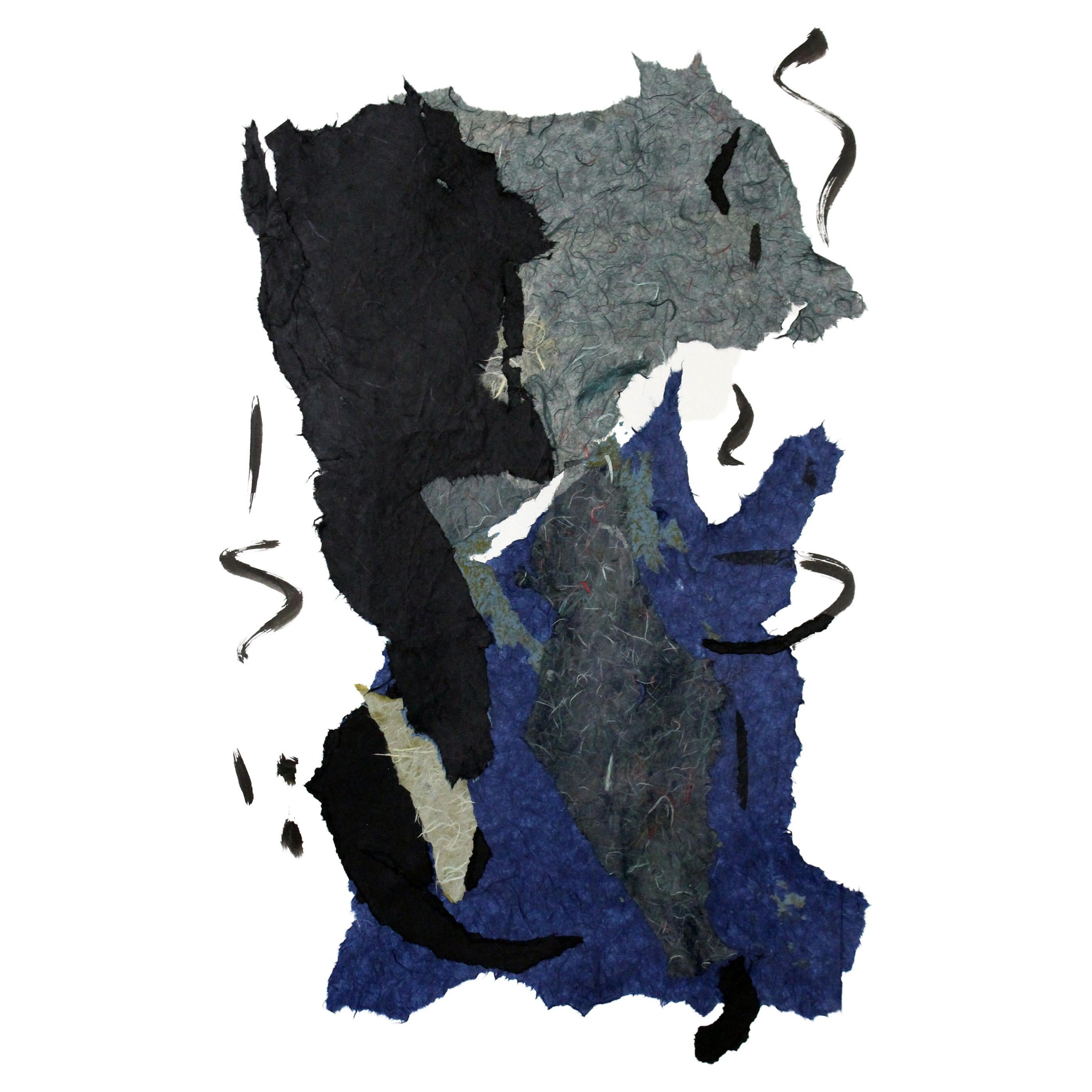 """""""Tarantella,"""" 2021 Gray, Blue and Black Abstract Collage by Diane Love"""