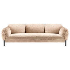 Tarantino 3 Seaters Sofa in Beige Fabric with Black Gold Legs