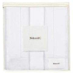 Molteni&C Tarascona King Size Premium Linen Duvet Bedding Set in White Salt