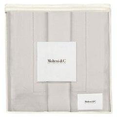 Molteni&C Tarascona King Size Premium Linen Duvet Bedding Set in Pearl Grey