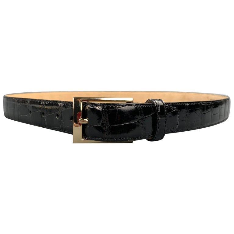 TARDINI Size 40 Black Textured Alligator Belt For Sale