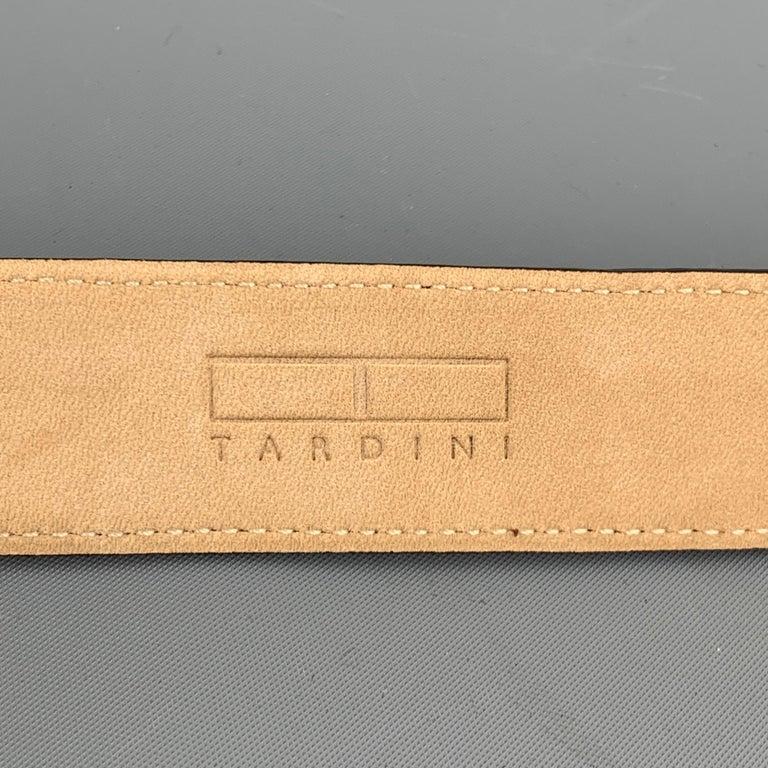 Men's TARDINI Size 40 Black Textured Alligator Leather Belt For Sale