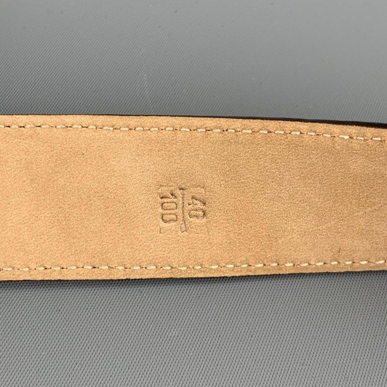 TARDINI Size 40 Black Textured Alligator Leather Belt For Sale 2