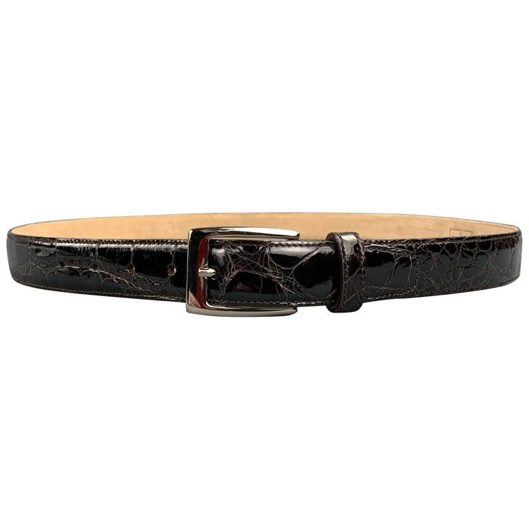 TARDINI Size 40 Black Textured Alligator Leather Belt For Sale