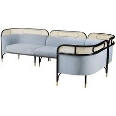 Targa Modular Sofa in Blue with Brass Feet by Gamfratesi & GTV