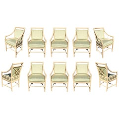 Target Back  Dining Chairs by McGuire, Set of Ten