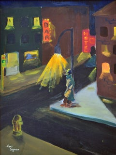 Bay Area Nocturnal Urban Landscape with Figure