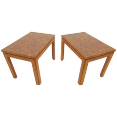 Tarm Stole Denmark Mid Century Teak Parquetry Wood Pair of Side Tables