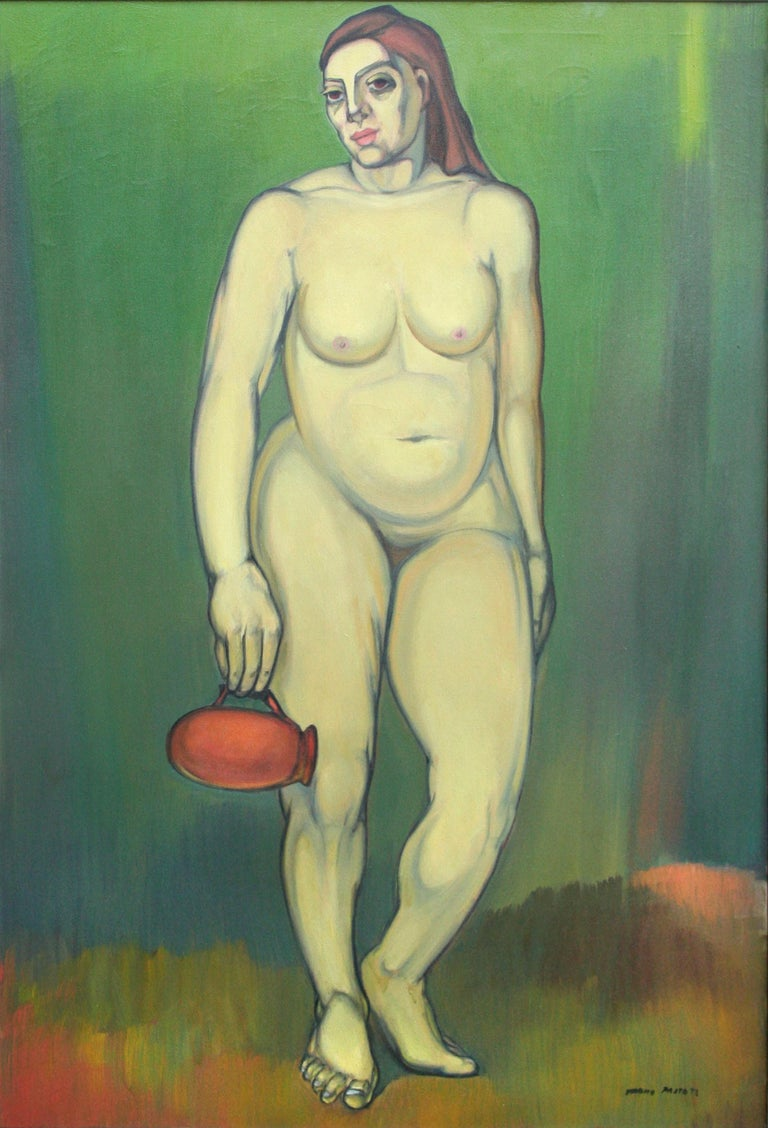 Nude with Red Pitcher - Painting by Tarmo Pasto