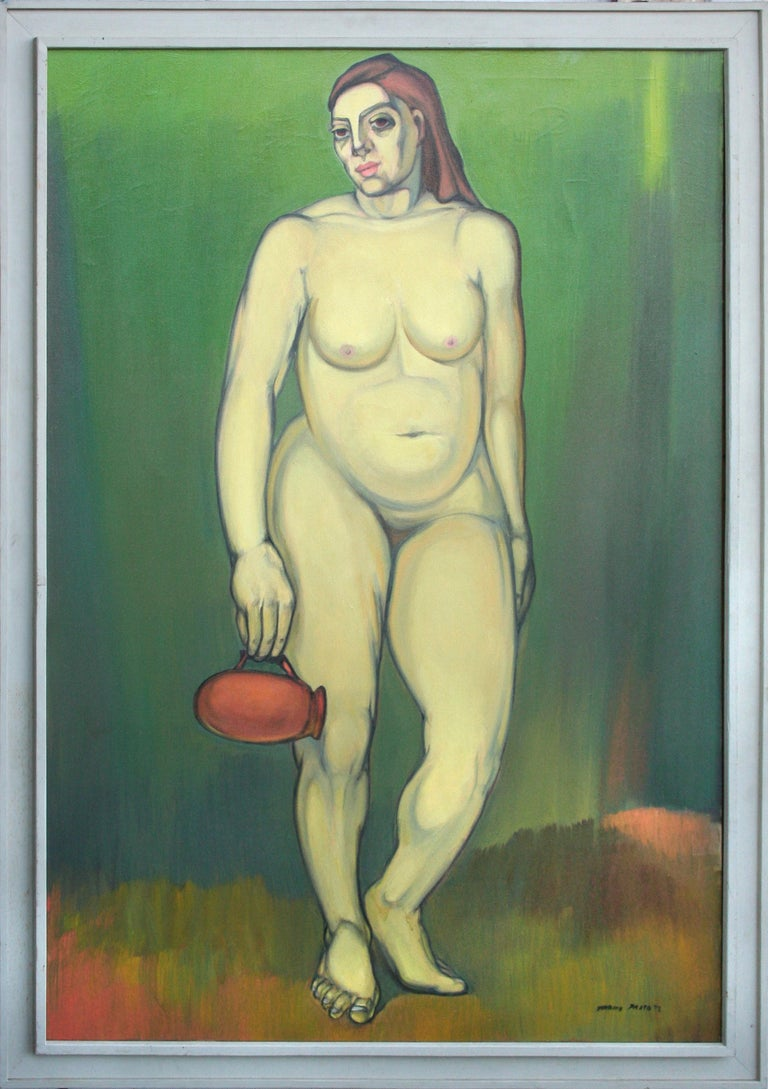 Tarmo Pasto Figurative Painting - Nude with Red Pitcher