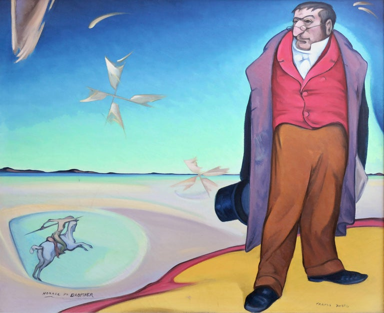 Homage To Daumier Surrealist Figurative - Painting by Tarmo Pasto