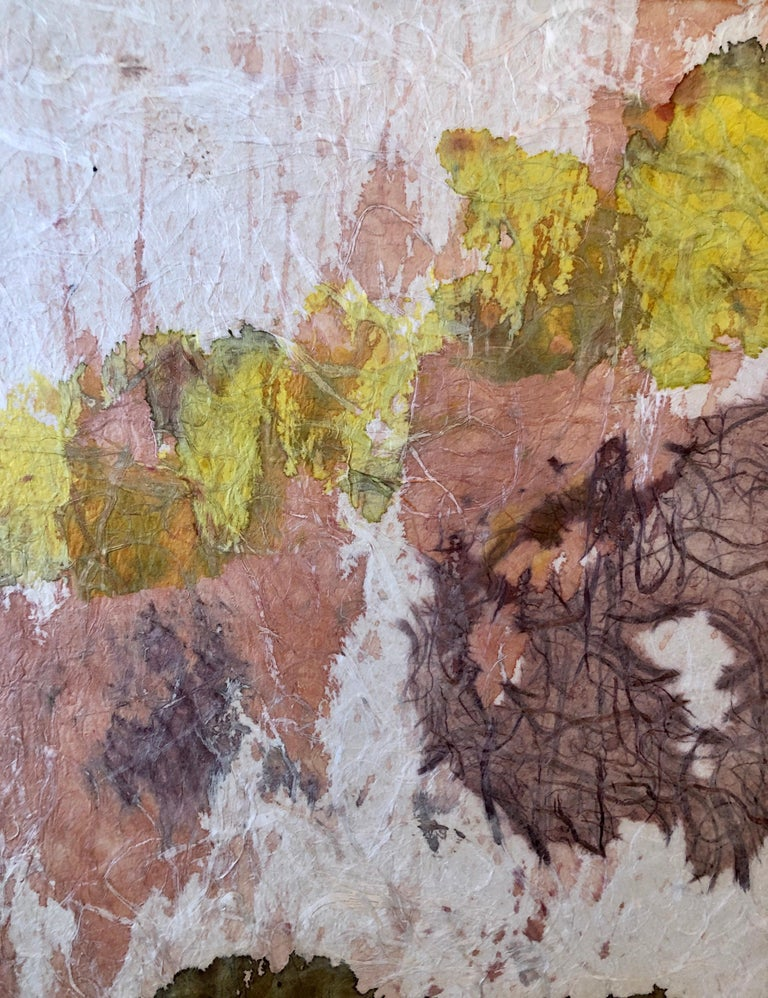 New York School Abstract Expressionist Mixed Media Painting Handmade Paper Board For Sale 2