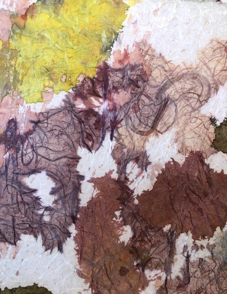New York School Abstract Expressionist Mixed Media Painting Handmade Paper Board For Sale 3