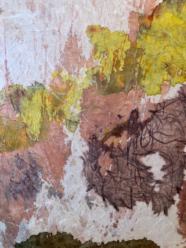 New York School Abstract Expressionist Mixed Media Painting Handmade Paper Board For Sale 4
