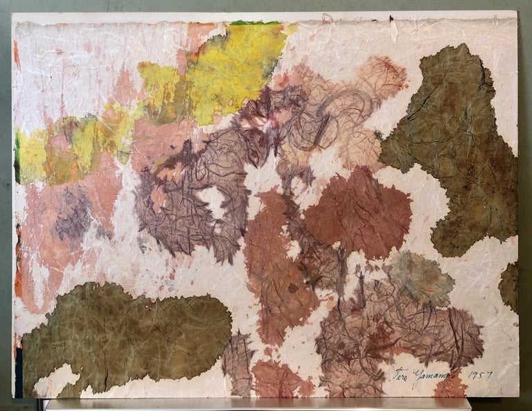 New York School Abstract Expressionist Mixed Media Painting Handmade Paper Board For Sale 5
