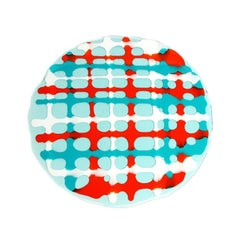 Set of 4 Tartan Placemats Aqua, Matt Turquoise, Orange, White by Paola Navone