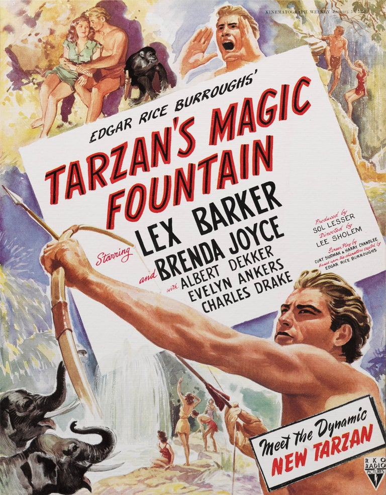 Original British trade advertisement for the 1949 adventure, fantasy science film Tarzan's Magic Fountain. The film was directed by Lee Sholem and starred Lex Barker, Brenda Joyce, Albert Dekker The piece is conservation paper backed and would be