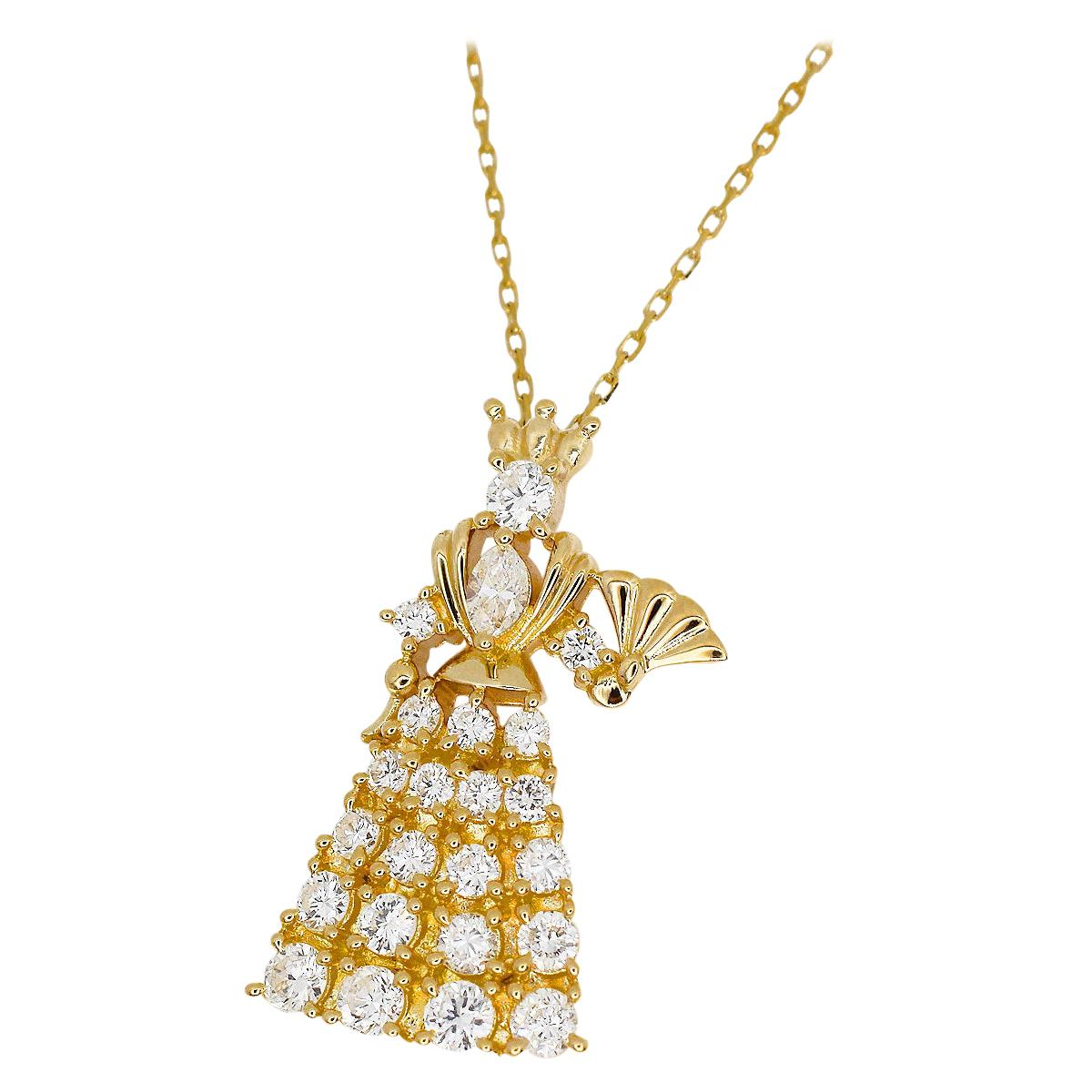 TASAKI 0.63 Carat Diamond 18 Karat Yellow Gold Queen Pendant Necklace