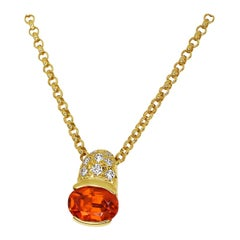 Tasaki 1.34 Carat Spessartine Garnet Diamond 18 Karat Gold Pendant Necklace