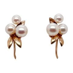 Tasaki 14 Karat Gold & Akoya Pearl Screw-Back Earrings