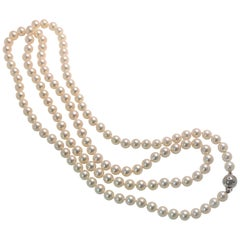 Tasaki 18 Karat Akoya Pearl Diamond Necklace