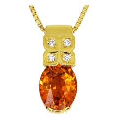 Tasaki 2.59 Carat Spessartine Garnet Diamond 18 Karat Gold Pendant Necklace