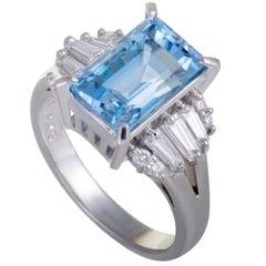 Tasaki Aquamarine and Diamond Platinum Ring