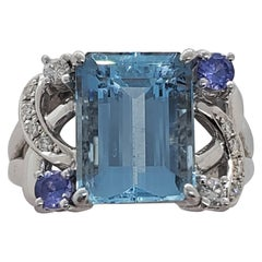 Tasaki Estate Aquamarine and Diamond Ring in Platinum