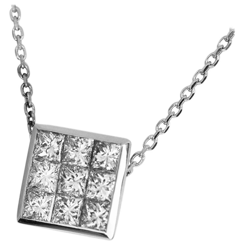 TASAKI Invisible Setting 0.61 Carat Diamond 18 Karat White Gold Pendant Necklace