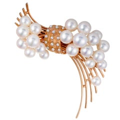 Tasaki White Pearl Rose Gold Brooch