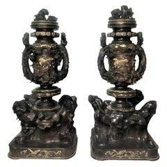 Meiji Period, Pair of Japanese Patinated & Gilt Lidded Vases, XIX Century
